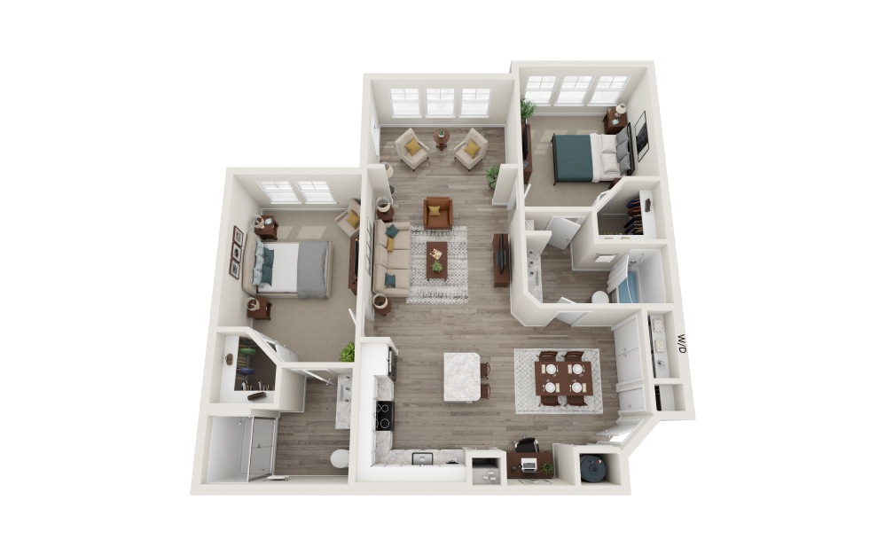 B1s 2 Bed 2 Bath Floorplan